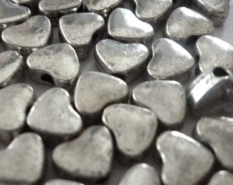 Silver Tone Metal Heart Shaped Spacer Beads - Packs of Ten - H311