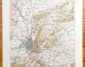 Antique Reading, Pennsylvania 1915 US Geological Survey Topographic Map – Muhlenberg, Alsace, Shillington, Birdsboro, Mohinton, Berks County