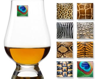 Animal Print Magnetic Drink Markers | Set of 8 | Unique Stemless Wine Tags Wine Glass Charms by Claim Your Glass | Great Hosting Gift!