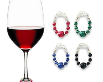 Bold & Beautiful Wine Glass Charms | Set of 4 | Magnetic Wine Charms by Claim Your Glass | Great Hosting Gift!