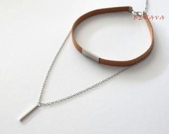 Choker chain necklace pendant Brown silver