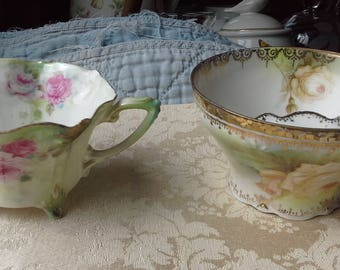 R.S. Prussia - 2  cups - feather-light teacup and mustache cup