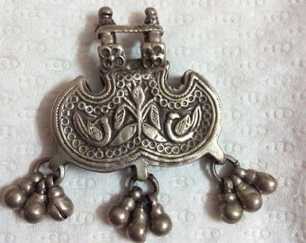 Handmade Hammer Carved Sterling Solid Silver Designed Beautiful Bell Rajasthan Tribal Pendant Necklace