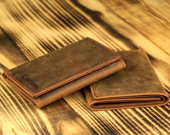 NEW!! Personalized Genuine Leather Wallet- Handmade Wallet- Vintage Three-Fold