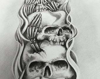 Skull Tattoo Design Artwork Wall Decoration