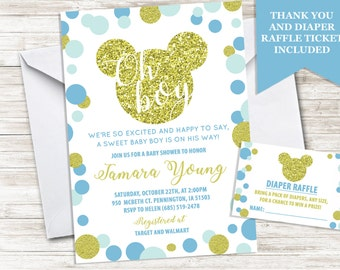 Mickey Baby Shower Boy Invitation Invite Mouse Inspired 5x7 Blue Gold Sprinkle Digital Personalized