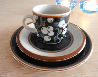 Arabia Finland,  TAIKA coffee cup, saucer and small plate,  Inkeri Leivo