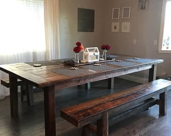 Rustic Farmhouse Dining Table and Benches