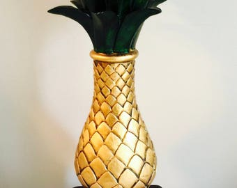 Retro Wooden Pineapple tall Candle holder or plant stand