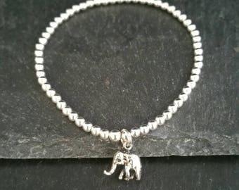 Genuine 925 Sterling Silver Stackable Ball Beaded Elastic Stretch Unique Elephant Pendant Charm Bracelet
