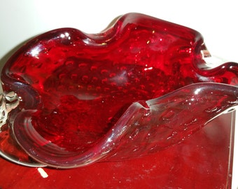 Vintage Red Murano Glass Bowl, Red Hankerchief Glass Dish, Red Bubble Glass, Bullicante Dish, Red Vintage Home Living Decor