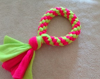 Fleece dog toy-dog tug toy-in neon green and neon pink fabric