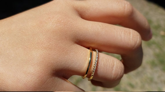 18kgp Gold Double Row Midi Ring. Adjustable Size. Nickel Free