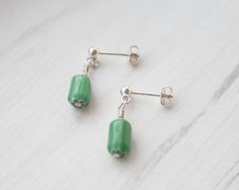 Green glass bead earrings. Sterling silver stud earrings with dangling green glass beads. Silver Posts. Gifts for Her. Green Earrings.