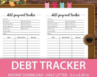 Debt Tracker, Debt Snowball, Half Letter Planner, Half Letter Size, Half Letter Planner Pages,Half Letter Inserts,Half Letter Planner Insert