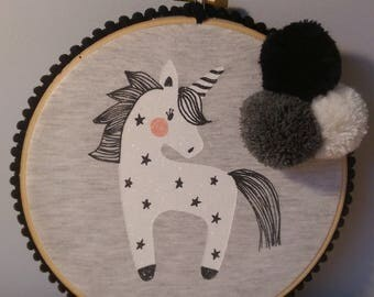 Unicorn wall hanging with playful pom poms