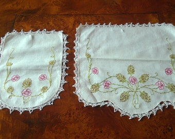 Vintage Crochet and Embroidery Doilies Set of 2
