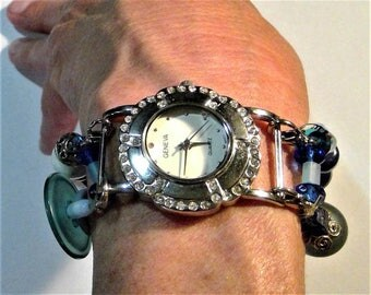 Vintage Geneva Button and Bead Watch - Sassy and in Working Condition with New Battery!