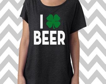 I Shamrock Beer St. Patrick's Day Tee Dolman Off the shoulder flowy tee Funny Shamrock Tee Drinking Shirt Clover Shirt Pub Crawl