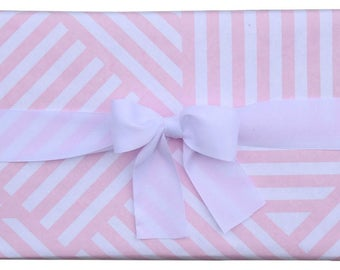 Gift Wrap Geometric ZigZag Pink and White