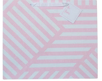 Gift Bag Geometric ZigZag Pink and White