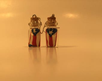 Earring bottle Puerto Rico flag