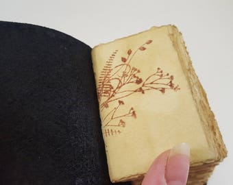 The Show Off ,Leather, Handmade, Tiny, Journal, Diary, Vintage, Tea Stained Pages, Gift, Travel Book, One of a kind, Unique, Black