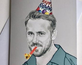 Ryan Reynolds A5 Illustrative Birthday card