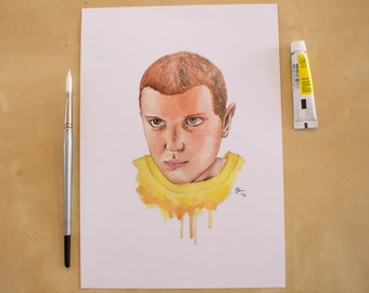 Eleven - Millie Bobby Brown - Stranger Things - Watercolour Portrait Print