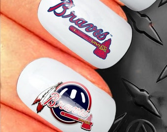 35 Nail Art Decals - National League Baseball ~Atlanta Braves N87 - *buy 1 get 1 of our choice free*