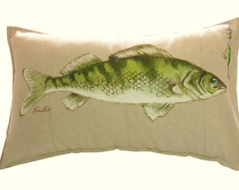 "WALLEYE FISH PILLOW Cover With Fish Lure, Gift For Him,  Hand Painted Pillow Sham (12"" x 20"")"