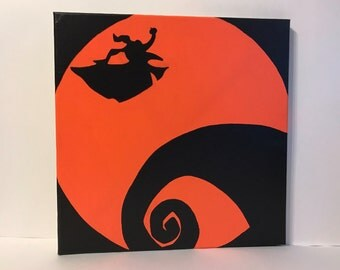 """Clearance - """"Zero the Ghost Dog"""" - Painted Canvas Inspired by Tim Burton's The Nightmare Before Christmas"""