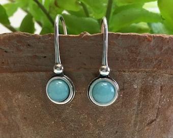 Amazonite Earrings, Sterling Silver Earrings, Minimalist Earrings, Aqua Earrings, Oxicized Earrings, Silver Drop Earrings, Ready to Ship