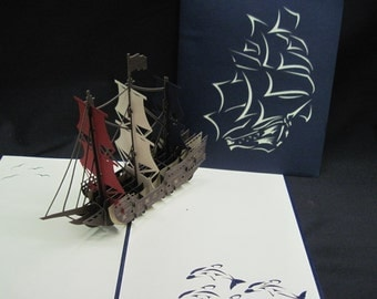 3-D Red, White, Blue Ship Pop-Up Card