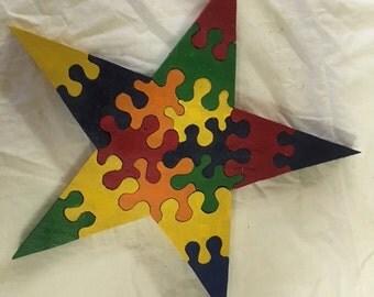 16 Piece Wooden Star Puzzle
