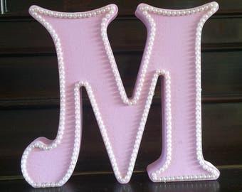 Decorative freestanding letter, alphabet letter, pink pearl letter, initial letter, girls room decor