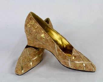 Vintage 80s 90s Cork and Metallic Gold Wedges With Gold Studs by J Renee, High Heels, Pumps