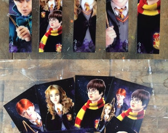 Harry Potter, Hermione Granger and Ron Weasley & the Fantastic Beasts (Newt) - postal card and poster ( fanart artwork)