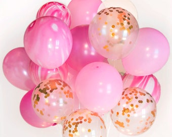 US ONLY - Strawberry Cheesecake Confetti Balloon Bouquet- Celebration, Set of 24, Wedding, Birthday, Party :-)