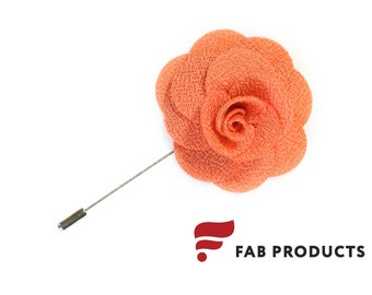 Flower Lapel Pin Mens Wedding Boutonniere Handmade Microfiber Orange by Fab Products