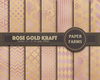Rose gold kraft digital paper, rose gold kraft digital scrapbooking paper, kraft digital paper, lilac digital paper, lilac scrapbook paper