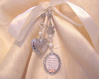 Heart Locket Bridal Bouquet Memory Charm Wedding Day Poem Verse
