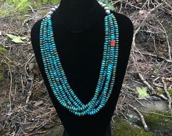 Mary C. Lavato Multi-Strand Turquoise Bead Necklace