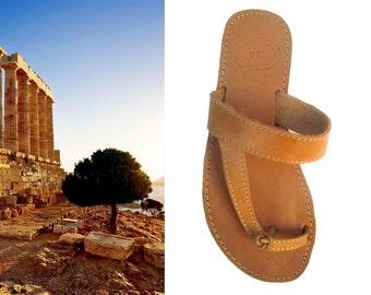Toe Ring Sandals, Grecques Sandals, Leather Sandal Toe Ring, Toe Ring Shoes, Greeksandals, Ancient Greek Shoes, Spartan Leather Flat, Sandle