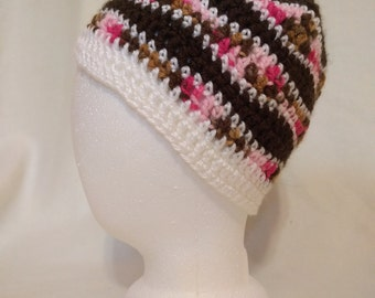 Pink and Brown Smooth Wave Beanie