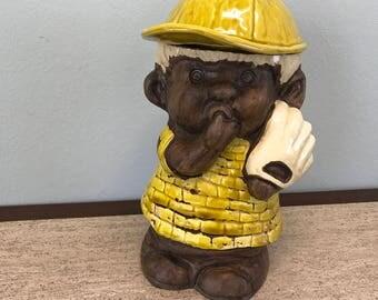 Vintage Treasure Craft Cookie Jar - Baseball Boy Sucking Thumb with Glove