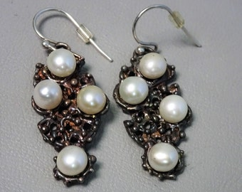 Unique handmade 925 sterling silver earrings with cultivated freshwater pearls - Dangling earrings - lost wax casting - gift for woman