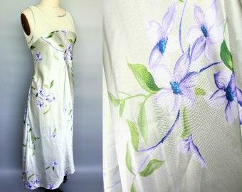 mother of pearl / 90s floral satin illusion neckline dress / 10 12 medium