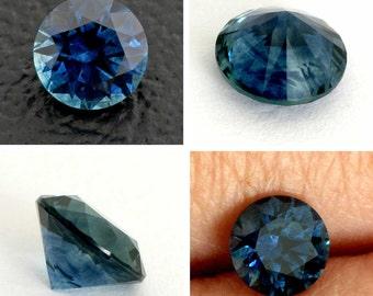 Montana Sapphire, 5.6mm Round Brilliant Montana Sapphire, 0.87 carat Blue Sapphire, U.S.A Precision Cut Loose Stone, Mkht206