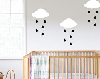 Gold Raindrop Decor Etsy - Nursery wall decals clouds